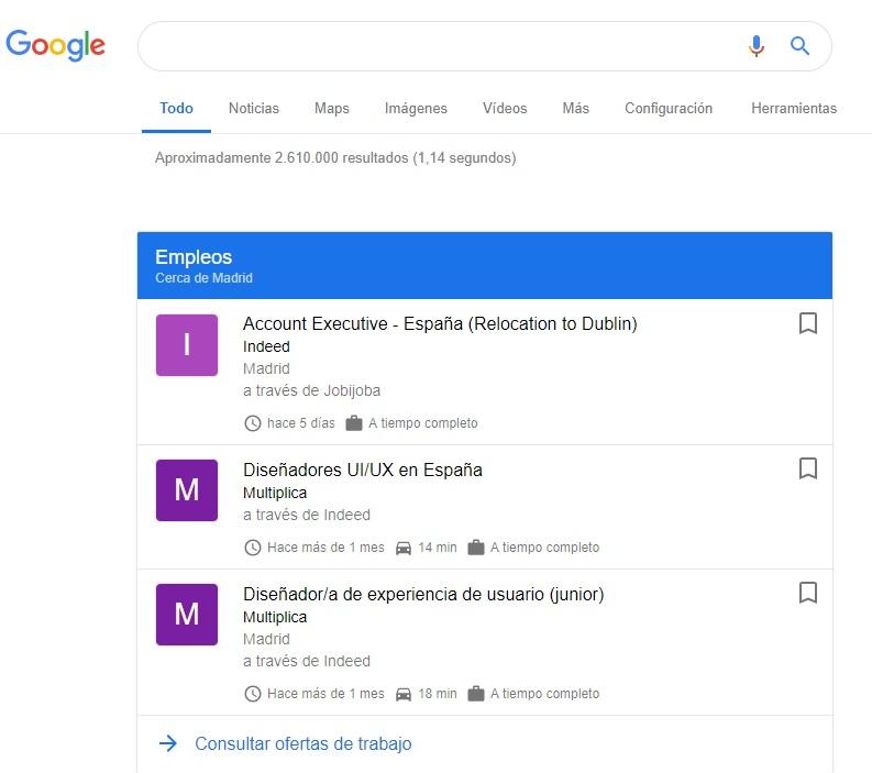 Agregador de ofetas de empleo: Google empleo