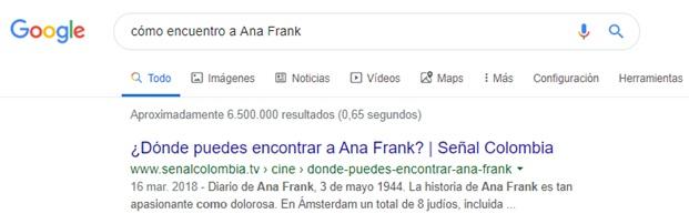 Lenguaje natural en la búsqueda de cómo encuentro a Ana Frank