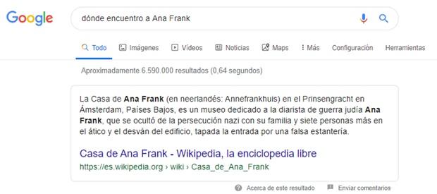 Lenguaje natural en la búsqueda de cómo encuentro a Ana Frank, resultado optimo